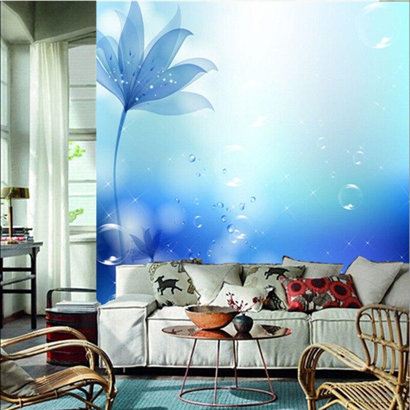 The custom 3D murals,3D 3D beautiful romantic blue flowers papel de parede,living room sofa TV wall bedroom wall paper vogue beautiful rose flower 3d wallpaper papel de parede living room sofa tv wall bedroom wall papers home decor large murals