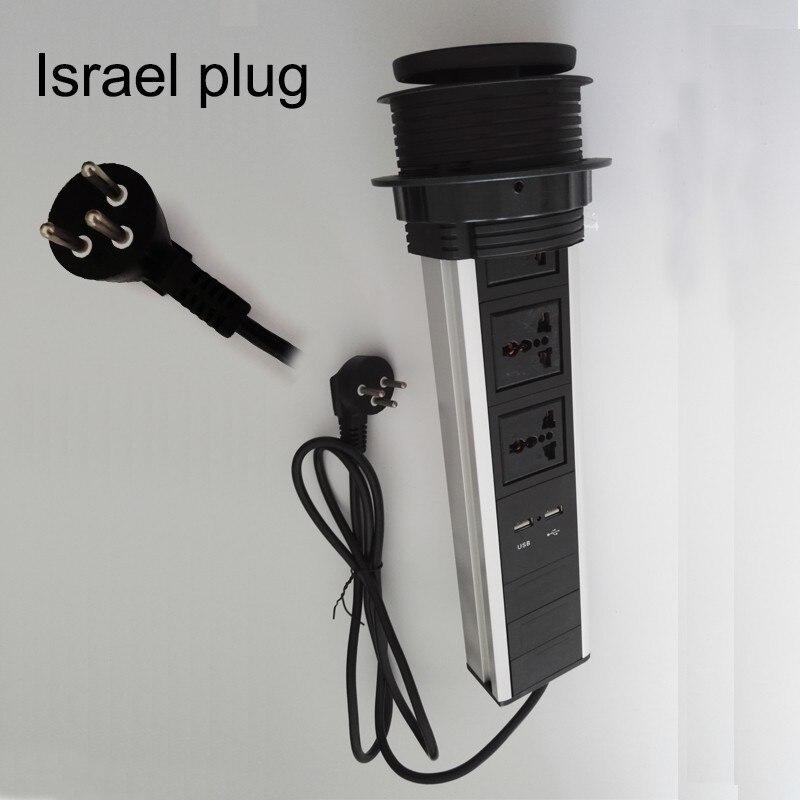 ФОТО Israel plug universal av power 3universal power+2charge USB conference furniture desktop tabletop socket