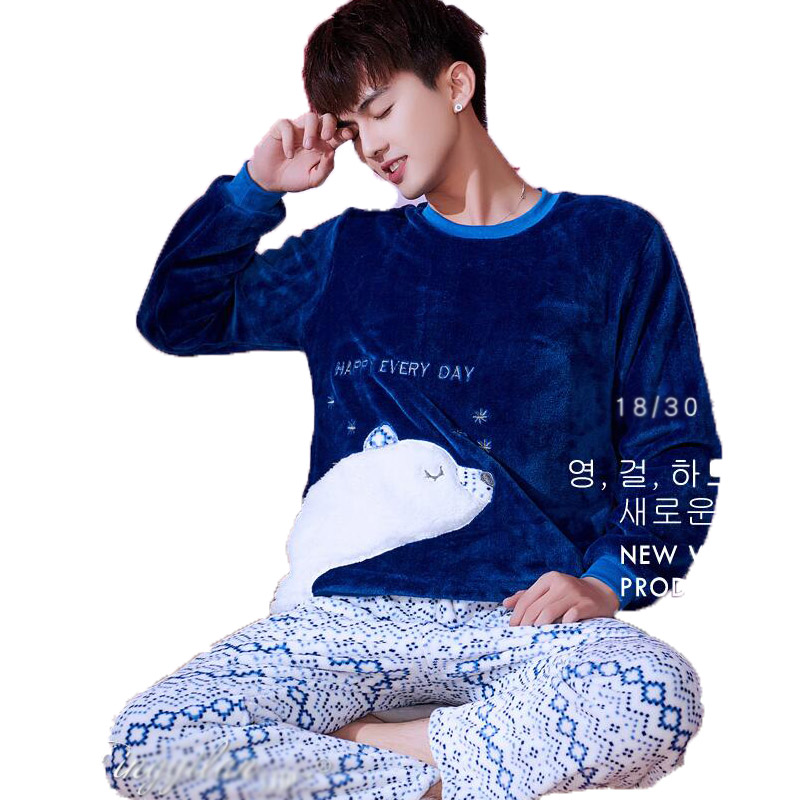 Men's Pajamas Winter Mens Pajama Sets O-neck Long Sleeve Pyjamas For Men Sleepwear Thick Warm Coral Fleece Pajamas Male Homewear