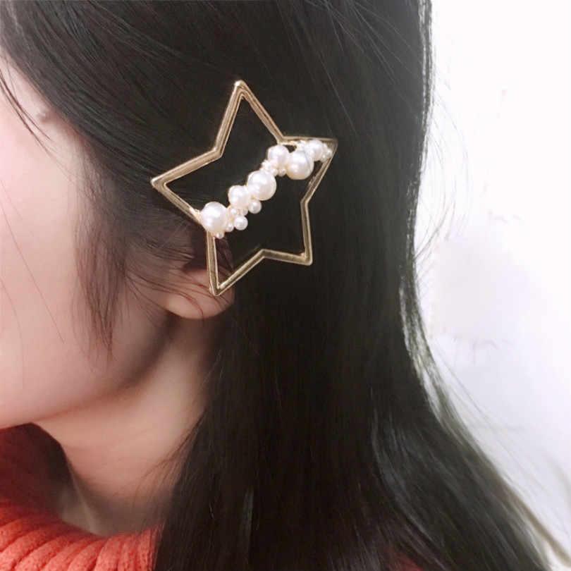 Coreano Gioelleria raffinata e alla moda Nuova Rete Lato Rosso Clip di Turno Scoppi di Clip Tornante Rotto Luna Perla a Cinque punte Star Tornante