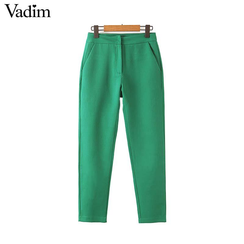 Vadim Women Stylish Solid Pants Side Pockets Zipper Fly Female Casual Green Fashion Trousers Pantalones Mujer KB072