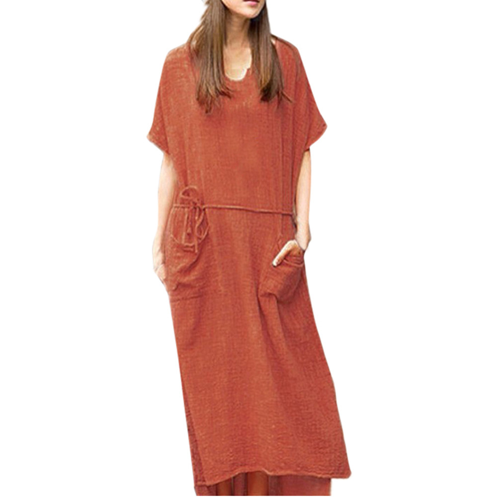 Outdoor Casual Lady Large Size Loose Cotton Linen Short Sleeve Straight Dress Summer Beach  Elegant Party o-neck Maxi Dresses