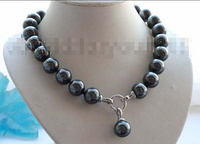 FREE Shipping 18 Natural 16mm Black Round Shell Pearl Necklace Pendant F1617