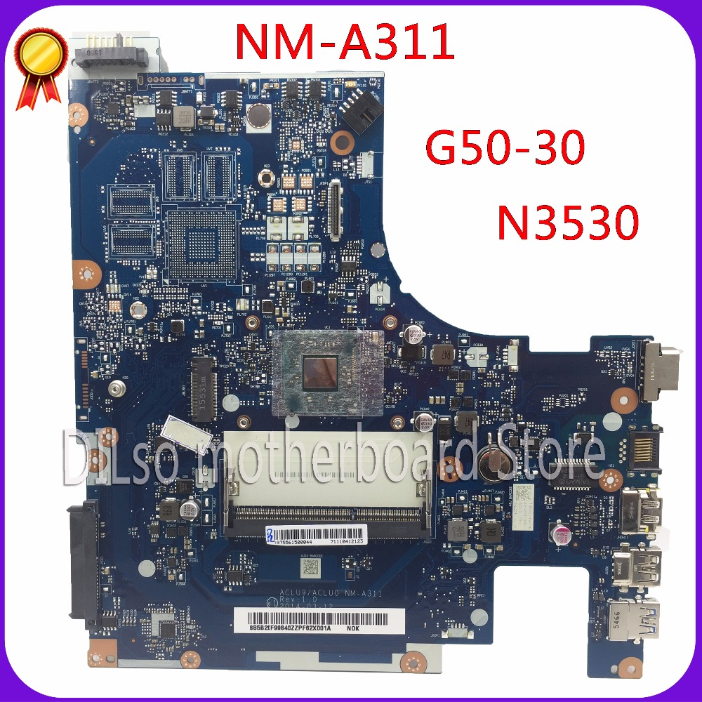 KEFU ACLU9 / ACLU0 NM-A311 motherboard For Lenovo G50 G50-30 Laptop Motherboard  tested motherboard DDR3 with N3530 CPU Onboard sheli aclu1 aclu2 nm a272 laptop motherboard for lenovo g50 70 motherboard nm a272 motherboard i3 cpu tested original notebook