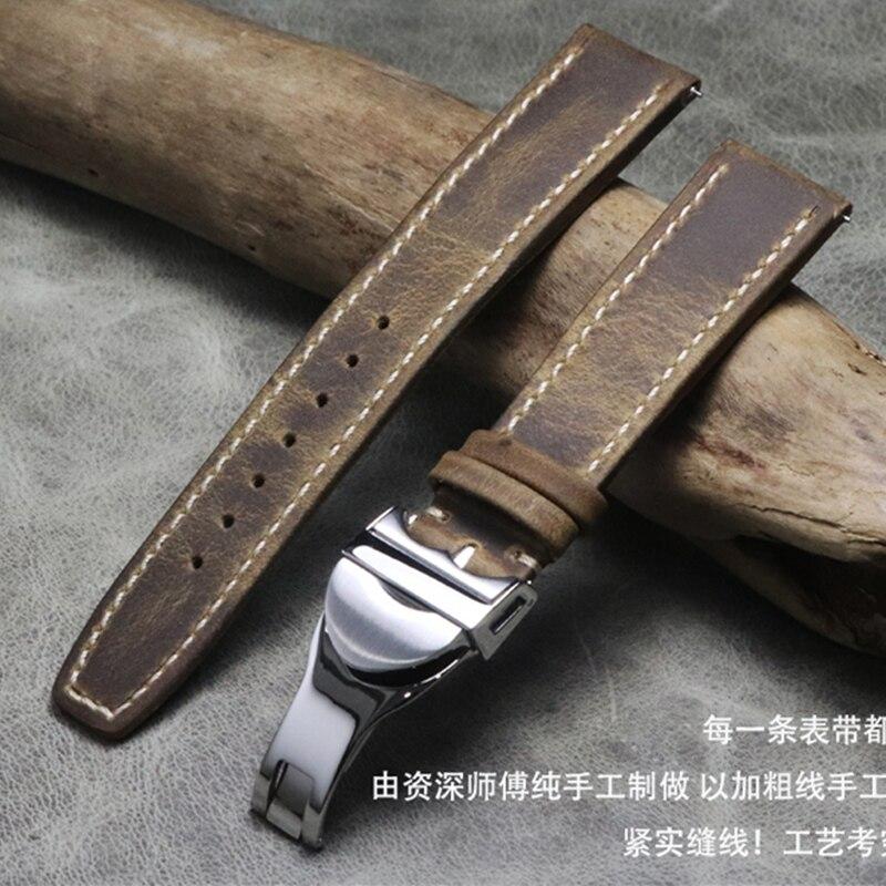 Винтажный коричневый ручной работы Crazy Horse кожаный ремешок для часов 20 мм 21 мм 22 мм из натуральной телячьей кожи ремешок для часов IWC