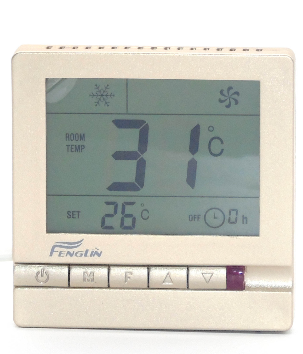 heat cool temp thermostat with golden panel temp