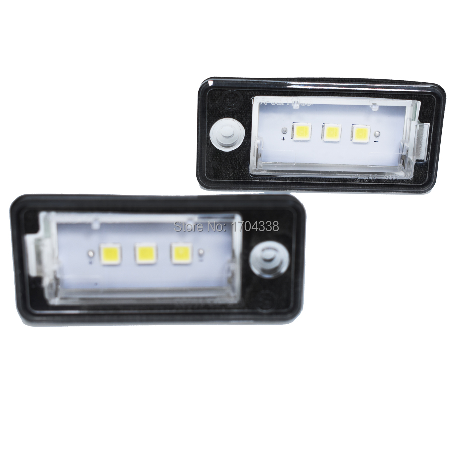 2pcs For Audi License Plate Light 12V White3SMD 5050 Led License Plate Lamp For audi A3 S3 A4 S4 B6 B7 A6 C6 S6 A8 S8 RS4 RS6 Q7 smaart v 7 new license