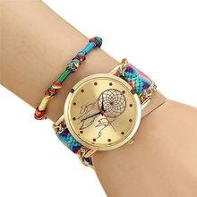 10dc2825a66 Mulheres casuais Nativa Handmade Dream Catcher Pulseira Trançada Relógios  Das Senhoras Relógio de Quartzo Do Vintage