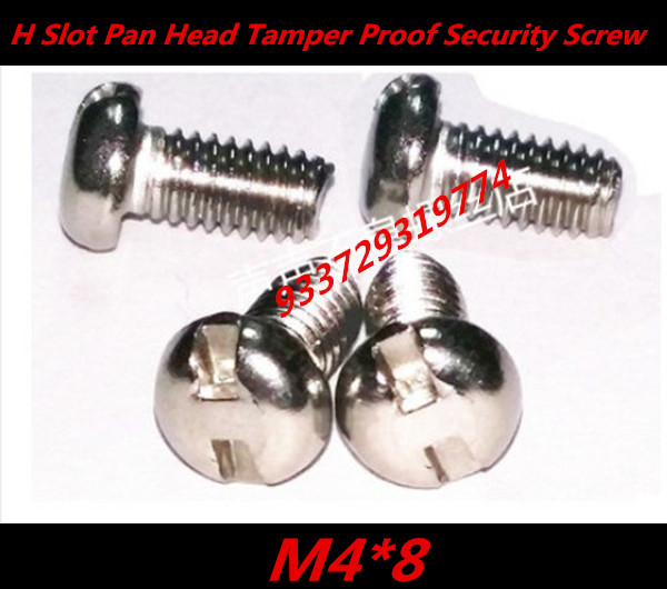 100pcs DIN7985 M4 x 8 A2 Stainless Steel H Slot Pan Head Tamper Proof Security Screw Screws