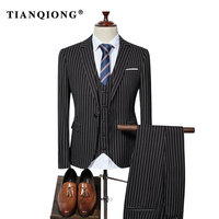 TIAN QIONG 2018 Custom Made Stripe Wedding Tuxedos Men Suits Taliored Event Ceremony Tuxedos Jacquard Wool