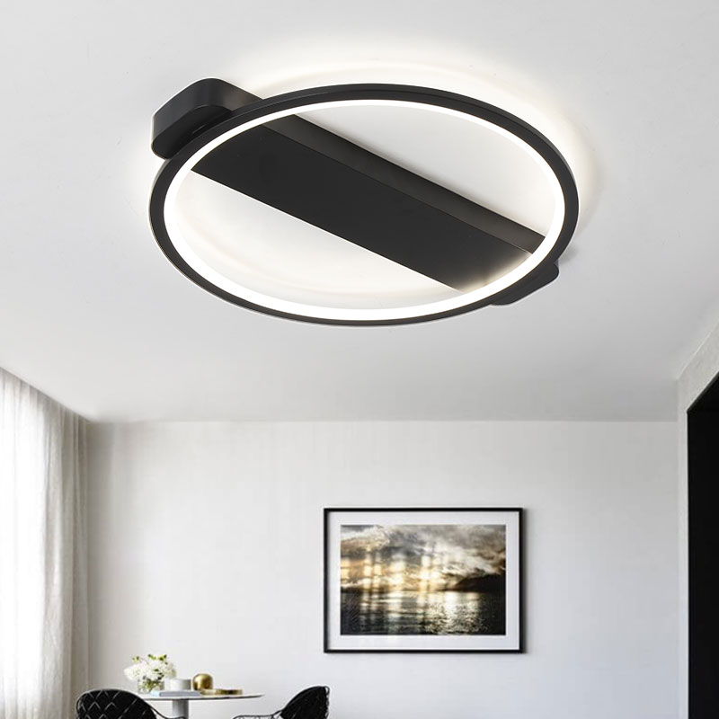 Creative Black/ White Ceiling Lights Modern LED For Dining Room Bedroom Simplicity Ceiling Lamp Light Fixtures lampara techo black or white rectangle living room bedroom modern led ceiling lights white color square rings study room ceiling lamp fixtures