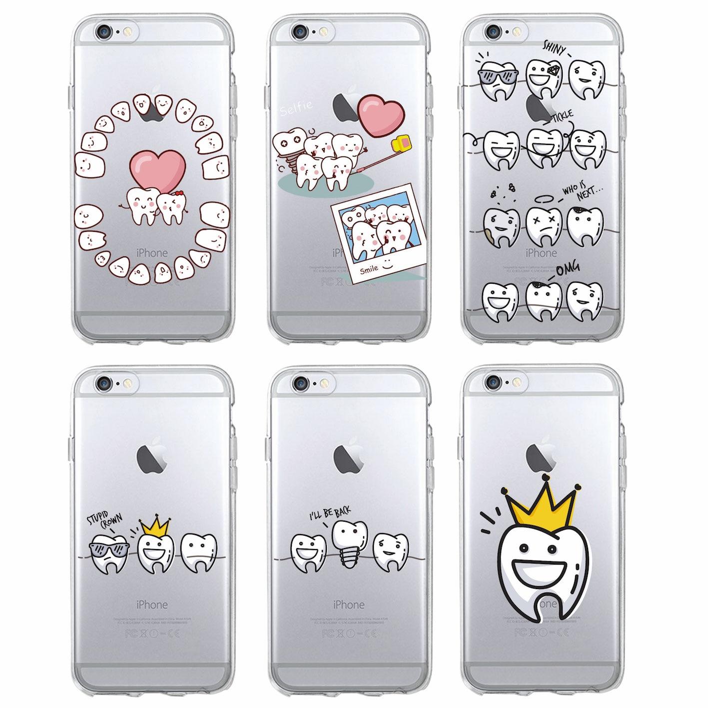 da8e3c7d70a Funda de teléfono suave de dibujos animados divertidos dentista dientes  corona funda para iPhone 7 7 Plus 6 6 S 5 5S 8 8 Plus X XS X Max SAMSUNG en  Cajas ...