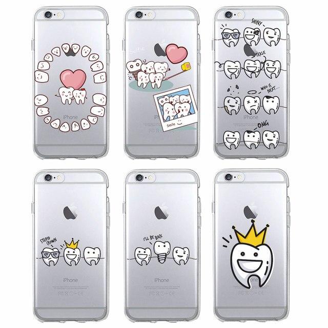 c035f4601a5 Funda de teléfono suave de dibujos animados divertidos dentista dientes  corona funda para iPhone 7 7