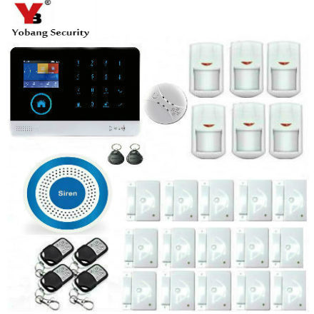 YoBang Security WIFI Wireless WCDMA/CDMA 3G LED Burglar Alarm IOS Android Application With PIR Motion Detector And Smoke Sensor