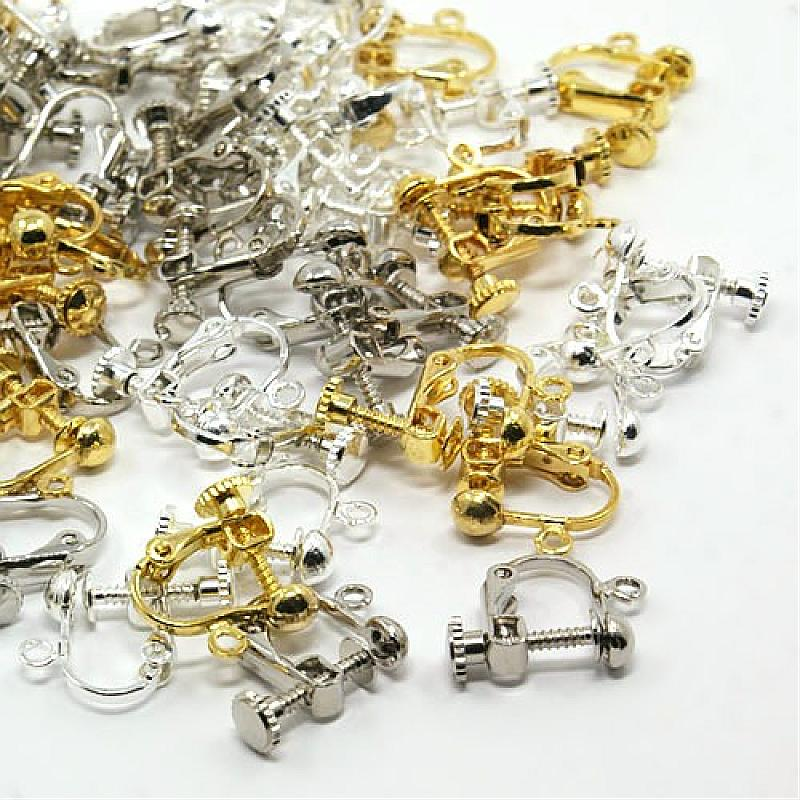 100Pcs Mixed Color Brass Screw Clip Earring Converter For Non-pierced Ears 17x13.5x5mm, Hole: 1.2mm