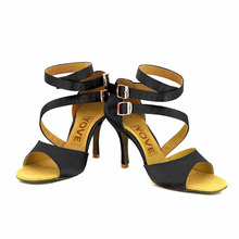 YOVE Dance Shoe Satin Women's Latin/ Salsa Dance Shoes 3.5″ Slim High Heel More Color w122-3