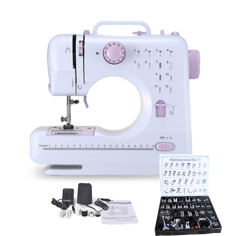 Mini 12 Stitches Sewing Machine Household Multifunction Double Thread And Speed Free-Arm Crafting Mending Machine
