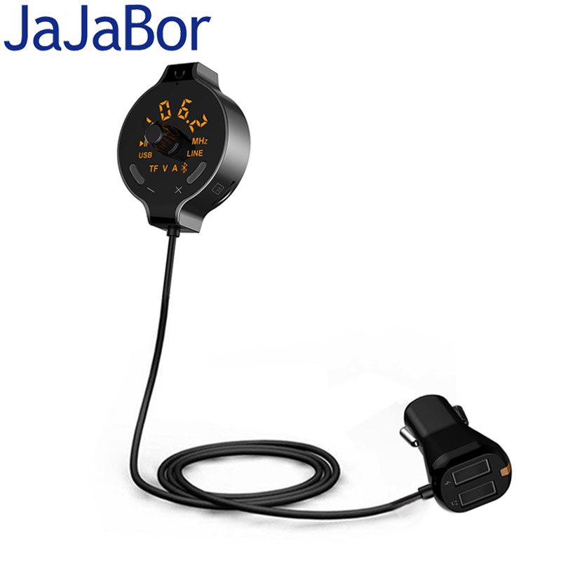 JaJaBor BluetoothCar Kit Handsfree FM Transmitter Audio Music Receiver AUX Output Dual USB Car Charger Support TF Card / U Disk