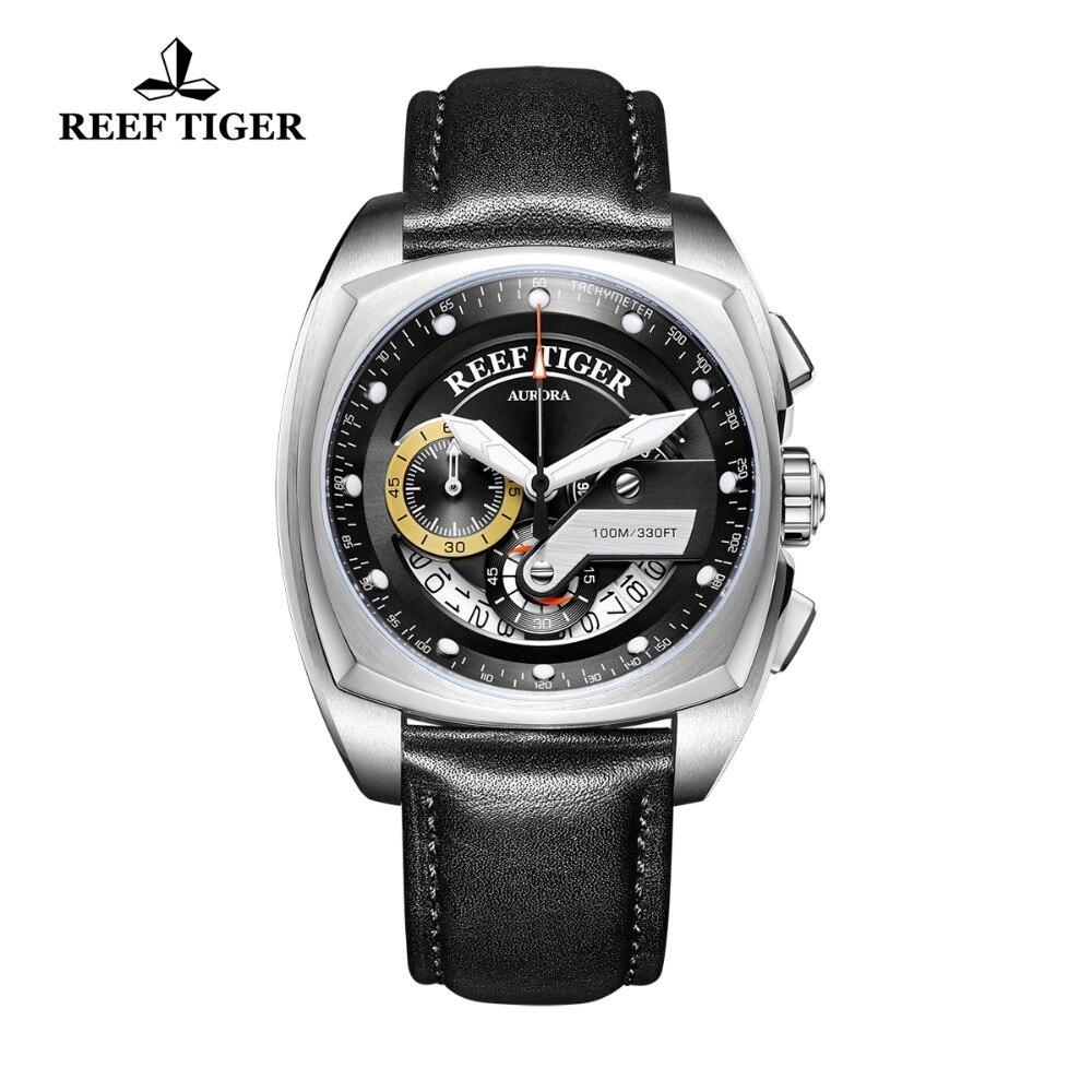 Récif tigre/RT nouvelle mode hommes montres carré Sport montre en acier bracelet en cuir montres militaires Relogio Masculino RGA3363