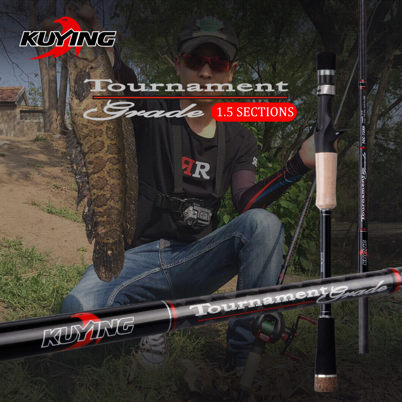 KUYING 1.5 Sections Tournament 1.77m 2.16m Carbon Casting Fishing Rod Super Hard XH Medium Fast Action Fish Pole For Snakehead