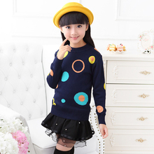 Girls Children Kids Knitted Autumn Winter Pullover 2015 Hot Sale Children Sweaters Fashion Cartoon Thick Sweater Free Shipping