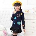 Meninas Dos Miúdos Das Crianças Pulôver de Malha Outono Inverno 2015 Hot Sale Crianças Blusas Moda Dos Desenhos Animados Suéter Grosso Frete Grátis