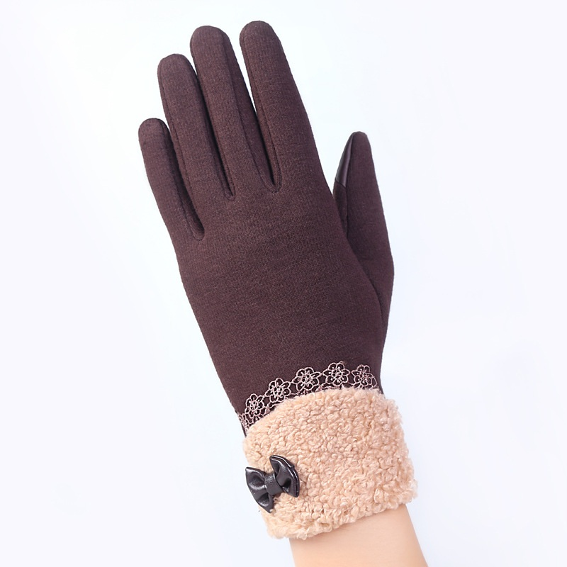 Fashion Women Gloves Screen Winter Warm Bow Soft Wrist Gloves Cashmere Full Finger Mittens