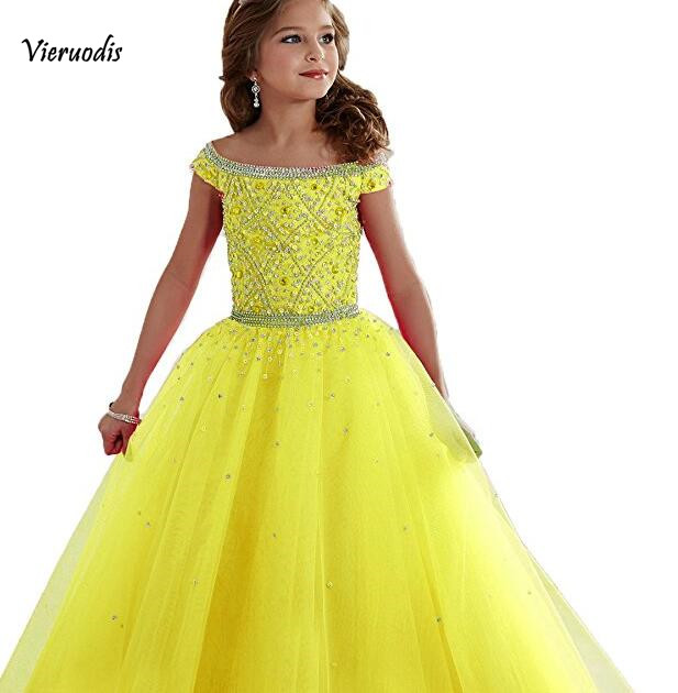 3840 Fashion New Pearl off the shoulder kids pageant for length gowns girl dress pageant dress for wedding in Flower Girl Dresses from Weddings Events
