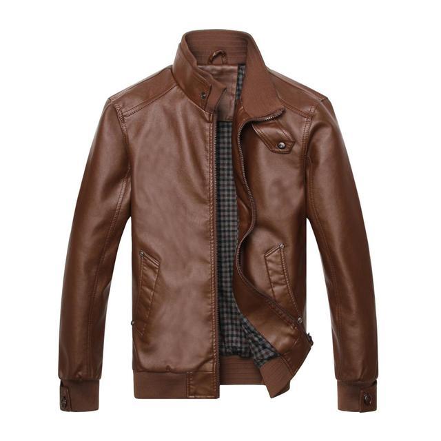 2016 new men's leather men 's leather imported PU leather jacket coat drive wagon jacket