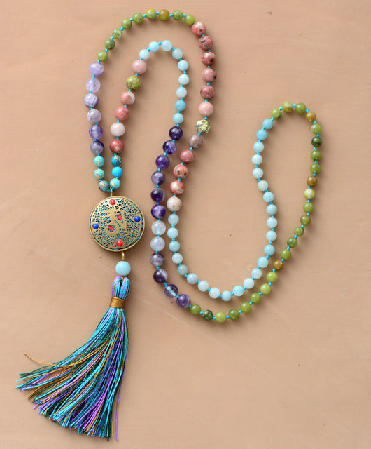 Necklace: Mala Natural Stone Nepal Charm Long Tassel Medallion