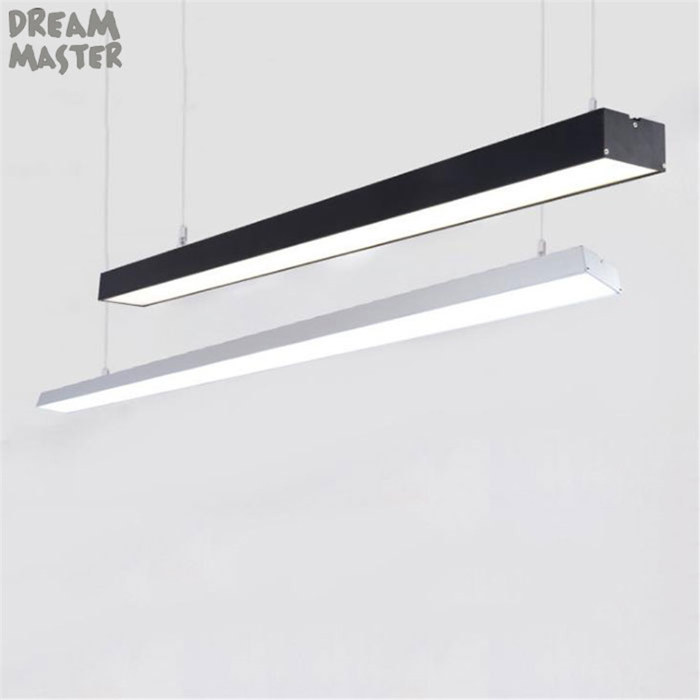 Black White L120cm Long LED Strip Light Office Pendant Lights 28W 36W 48W LED Bar Hanging Lamp For Studio Shopping Mall Store