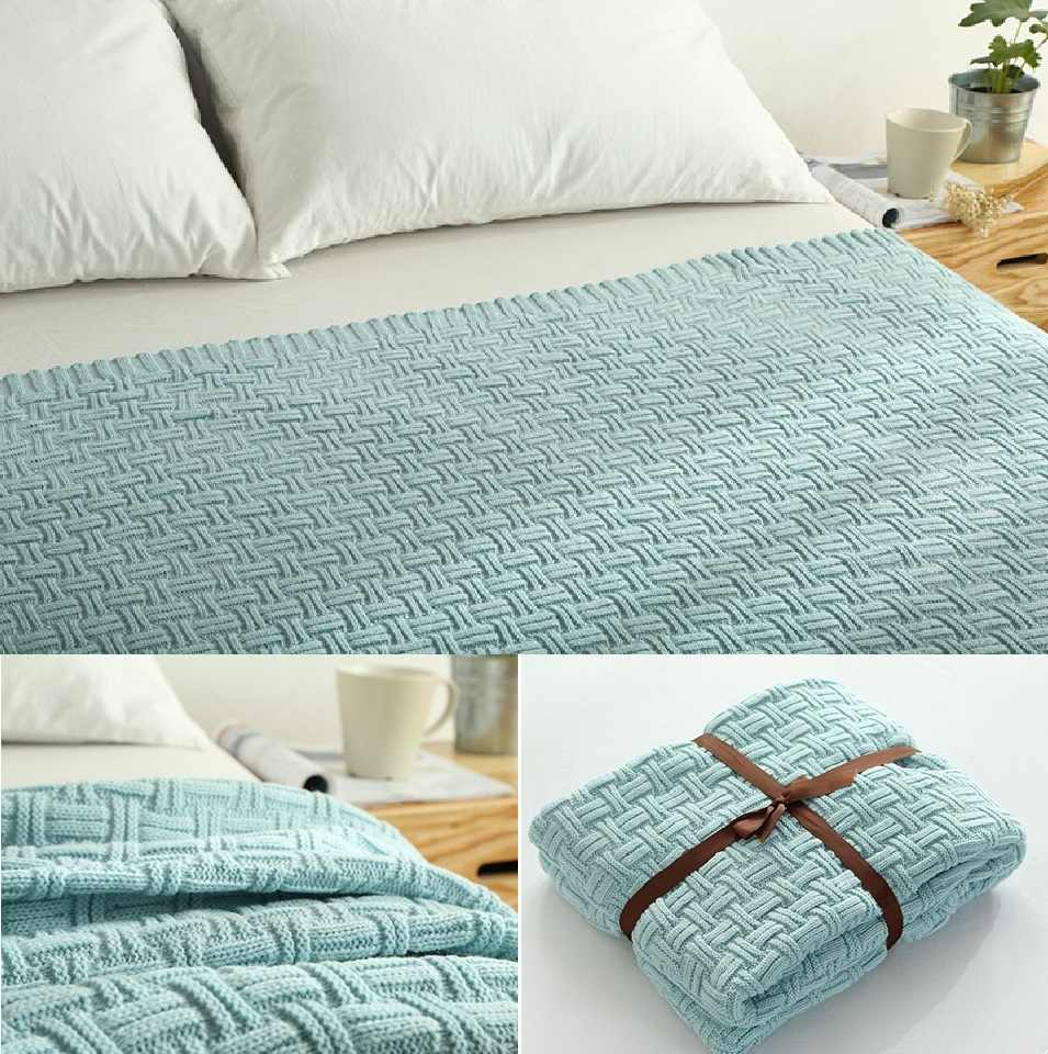 CAMMITEVER 100% Cotton Yarn Knitted Handmade Crochet Blanket Throw Bed Sofa Airplane Baby Blanket Bedspread Cover