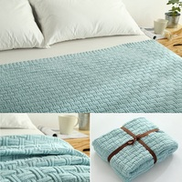 CAMMITEVER 100% Cotton Yarn Knitted Handmade Crochet Blanket Throw Bed Sofa Airplane Baby Blanket Bedspread Cover