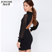 Black Sexy Bandage Open Back Dress Short Mini Backless Club Party Dresses Patchwork Casual Women Summer