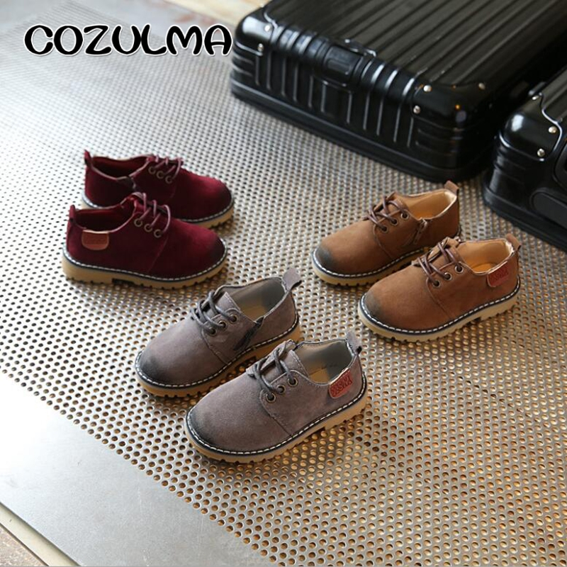 COZULMA Boys Girls Sneakers Lace Up Läder Barn Mode Sneakers - Barnskor - Foto 4