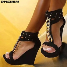 TINGHON New Women Gladiator Women Sandals High Heels Fashion Sandals Chain Platform Wedges shoes vankaring new 2018 summer fashion patent leather shoes woman gladiator sandals shoes wedges high heels platform women sandals