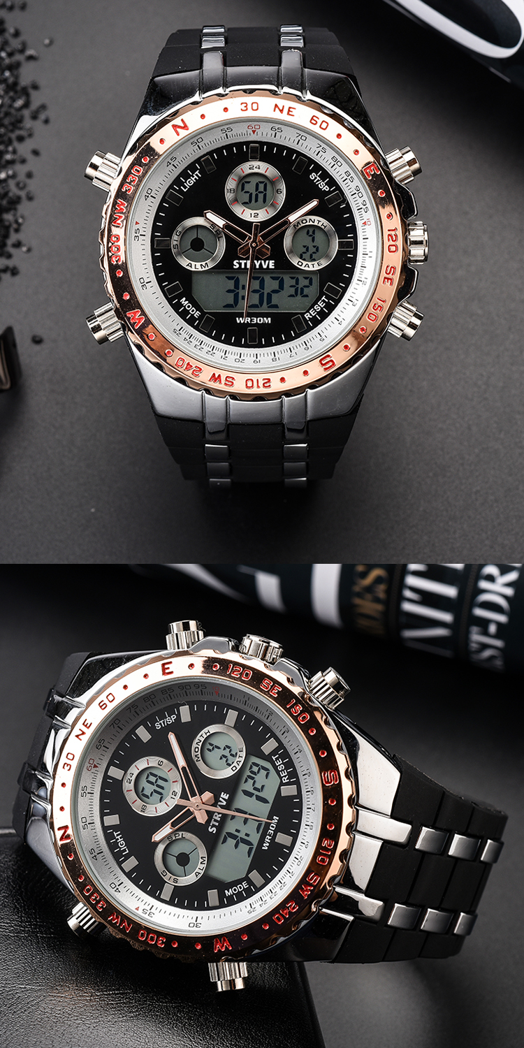 IsMyStore: luxury brand STRYVE S8002 Wristwatches Montre Homme Multifunction Sports Watches Army Military Heavy Dial Alarm Led Analog Clock