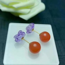 shilovem 18K yellow Gold real Natural south Red agate Amethyst earrings fine Jewelry wedding new plant women gift myme8.5-9111nh
