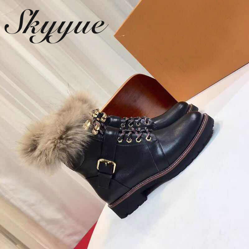 SKYYUE New Genuine Leather Gladiator Lace Up Women Ankle Boots Real Fur Buckle Strap Women Boots Shoes Women lace up cross strap buckle ankle boots