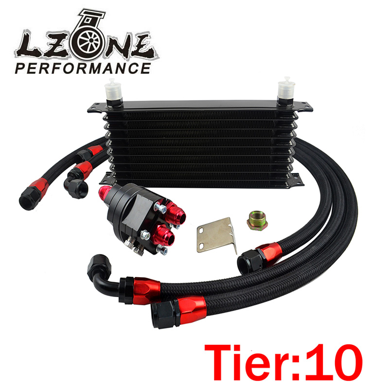 LZONE RACING - Universal 10 Row 10AN Aluminum Engine Transmission Oil Cooler Relocation Kit JR5110BK+6724BK+3PCS pqy store blue 15 row an 10an universal engine oil cooler kit aluminum hose end kit pqy5128