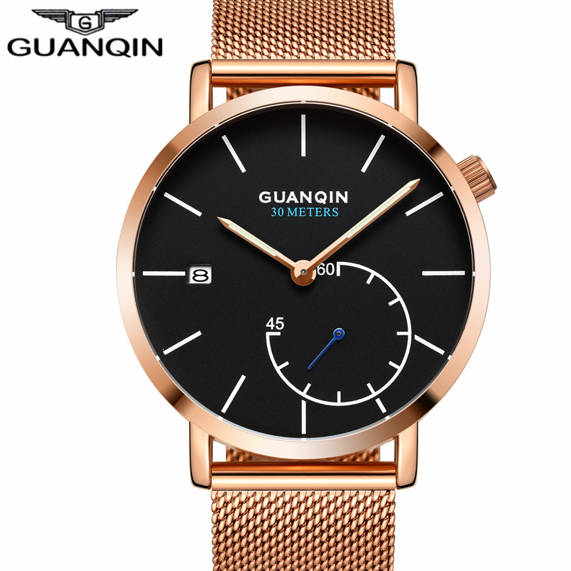 GUANQIN Brand Watches Men Luxury Mesh Strap Quartz Watch Men's Fashion Stainless Steel Waterproof Wristwatch relogio masculino интеркулер kang wild 1 6t 1 6t 53039700174