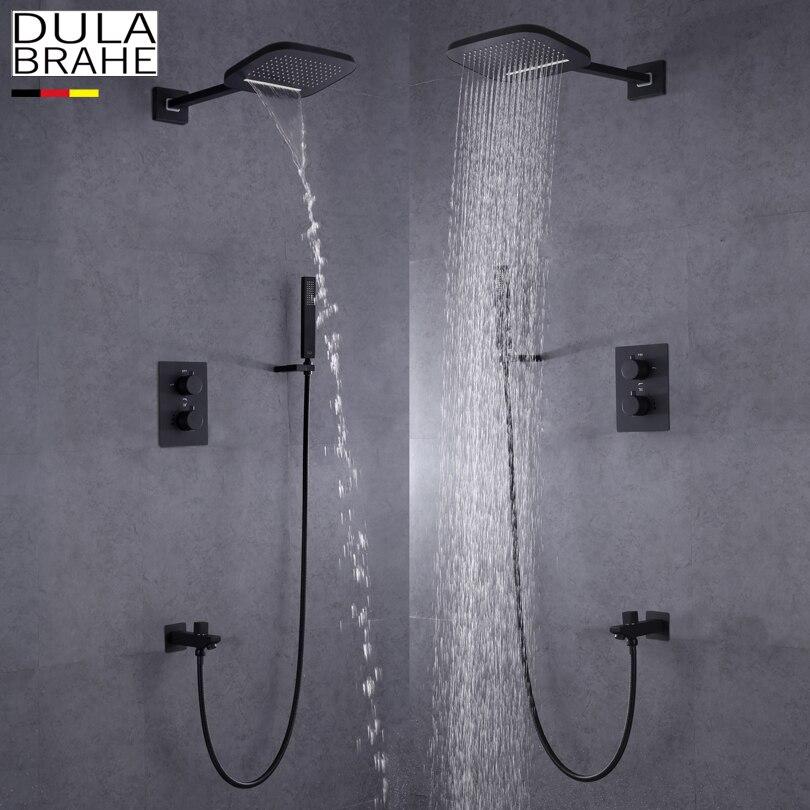 DULABRAHE чернеет Ванная комната смеситель для душа Установить настенный дождь латунный Насадки для душа все Медь ванны и душа коснитесь