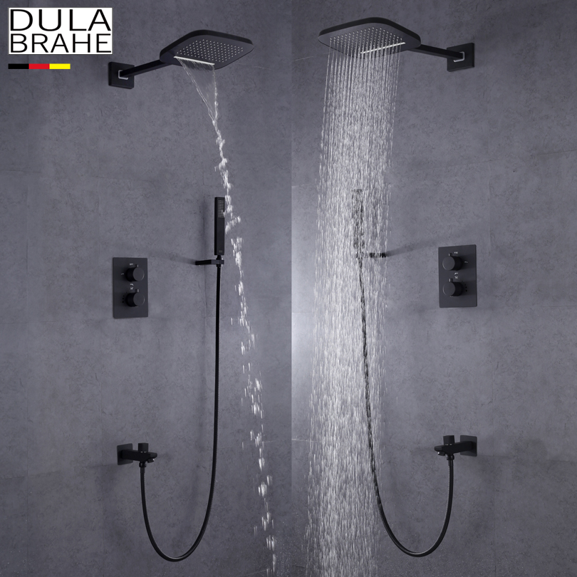 DULABRAHE Blacken Bathroom Shower Faucet Set Wall Mounted Rain Brass Waterfall Shower Head All Copper Bath