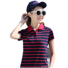Women Striped England Style British High Quality Basic Shirt Ladies Body Short Sleeve POLO Shirt 2017 New White Tops YY673