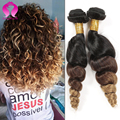 7A Ombre Brazlian loose wave Hair Brazilian Virgin Hair loose deep wave 3 Bundles a lot Ombre Human virgin Hair bundles