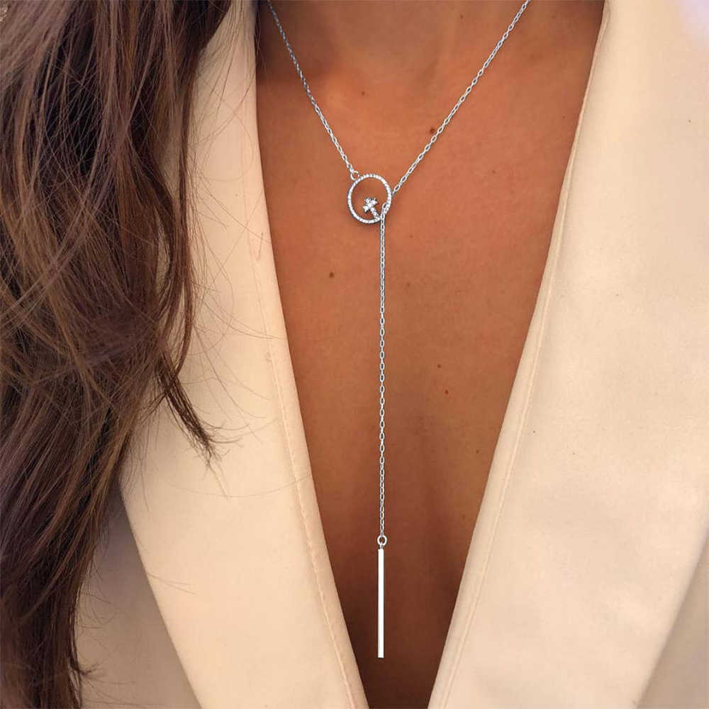 KISS WIFE New Silver Color Crystal Cross Pendant Necklace Women Long Tassel Chain Choker Bohemia Collares Necklace Jewelry