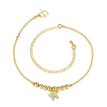 Wholesale Simple Metal Beads Butterfly Anklets Chain Dog/ Fish Anklets Gold Color Fashion Jewelry For Women