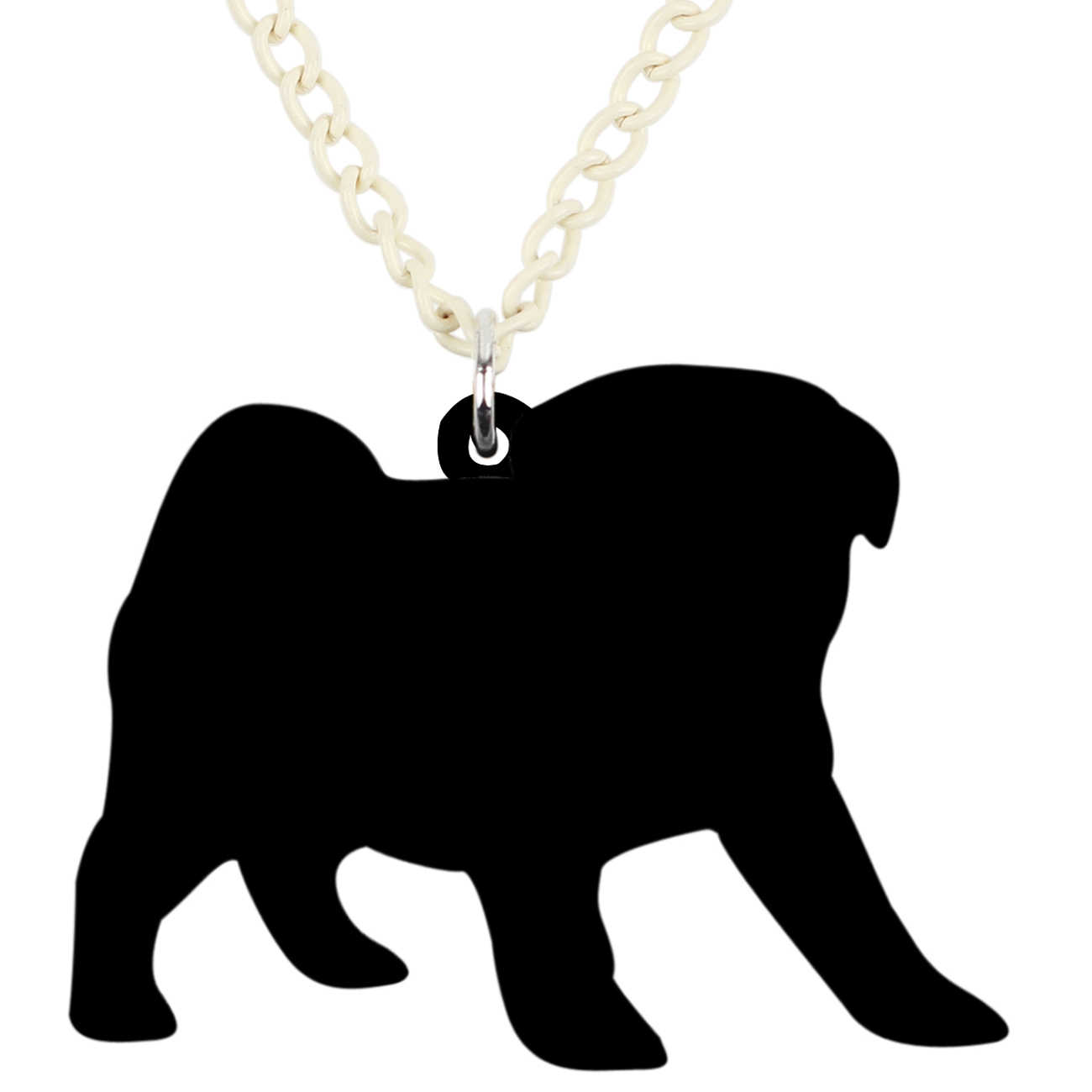Weveni acrílico buldogue francês pug cão colar pingente gargantilha colar dos desenhos animados animais de estimação jóias para meninas presente do miúdo bijoux
