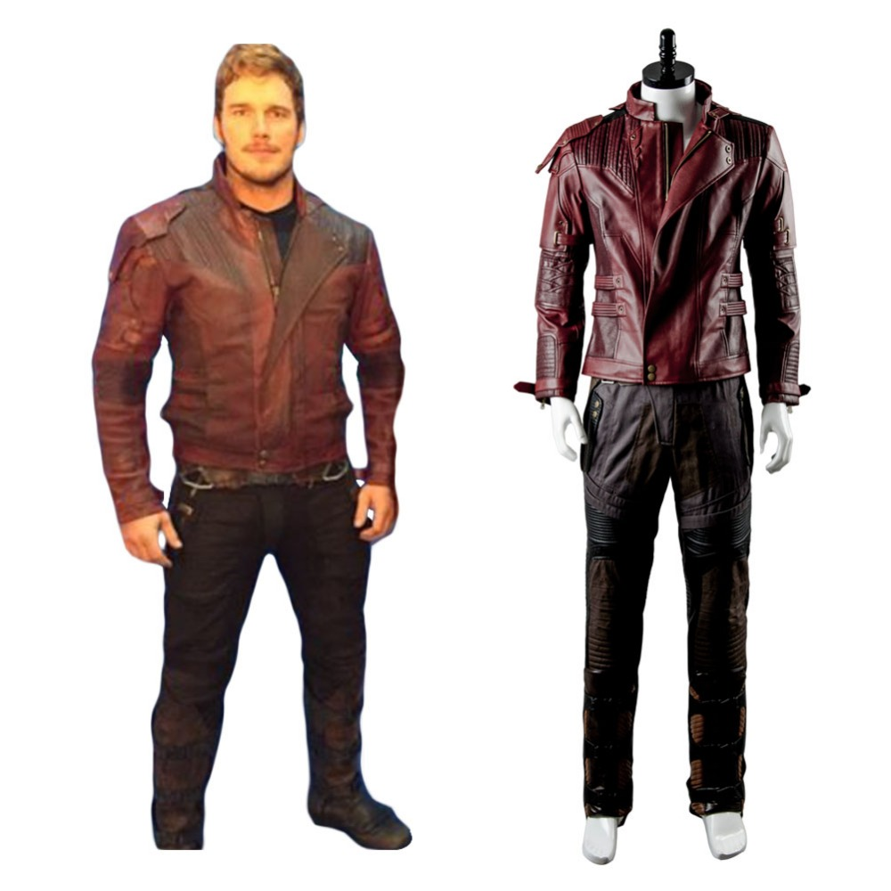 Guardians Of The Galaxy 2 Jacket Cosplay Costume StarLord Peter Jason Quill Starlord Costume Leather Jacket Only Adult Men