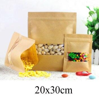 100PCS 20*30cm(7.87''*11.81'') Brown Zipper Kraft bag,Window Kraft paper bag with ziplock for Candy/Coffee/Tea/gift paper pouch